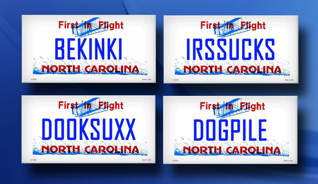 PHOTOS: Banned NC license plates