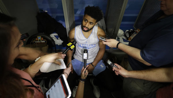 North Carolina's Joel Berry II answers questions after a practice session for their NCAA Final Four tournament college basketball semifinal gam_375848