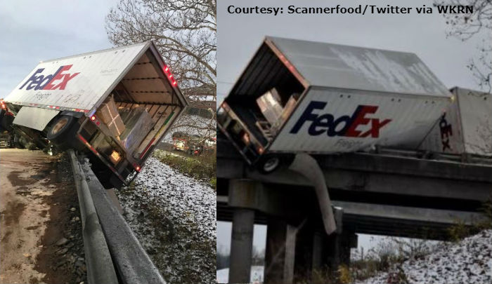 Driver charged after FedEx truck crashes, ends up hanging