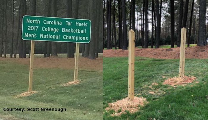 Crews find missing UNC championship sign placed near PNC Arena