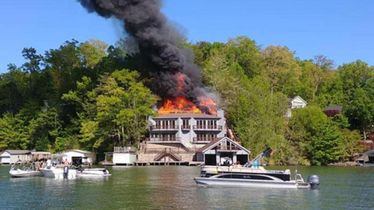 Fire heavily damages large home at Lake Lure