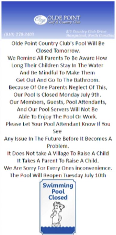 NC country club's post about child using bathroom in pool