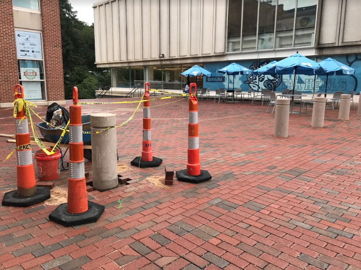 New bollards are being installed in different parts of campus. (Yakin Ouederni)