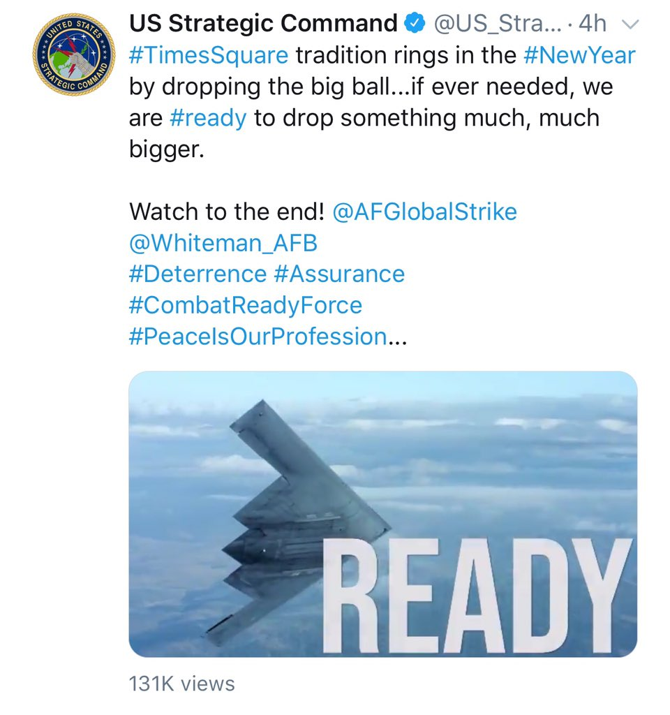 Strategic Command deletes New Year's tweet about dropping bomb