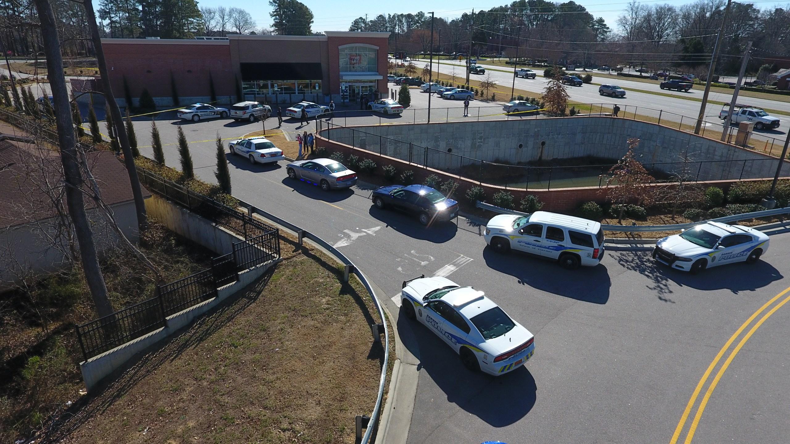 Garner Walgreens shooting drone image