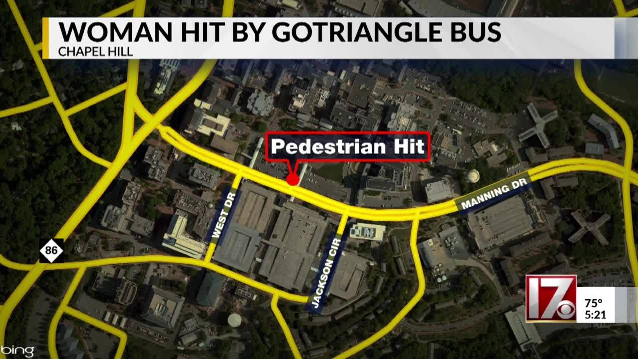 Woman hit by GoTriangle bus, UNC police investigating on