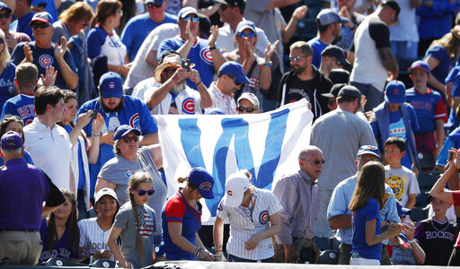 Cubs fans with victory flag, r m