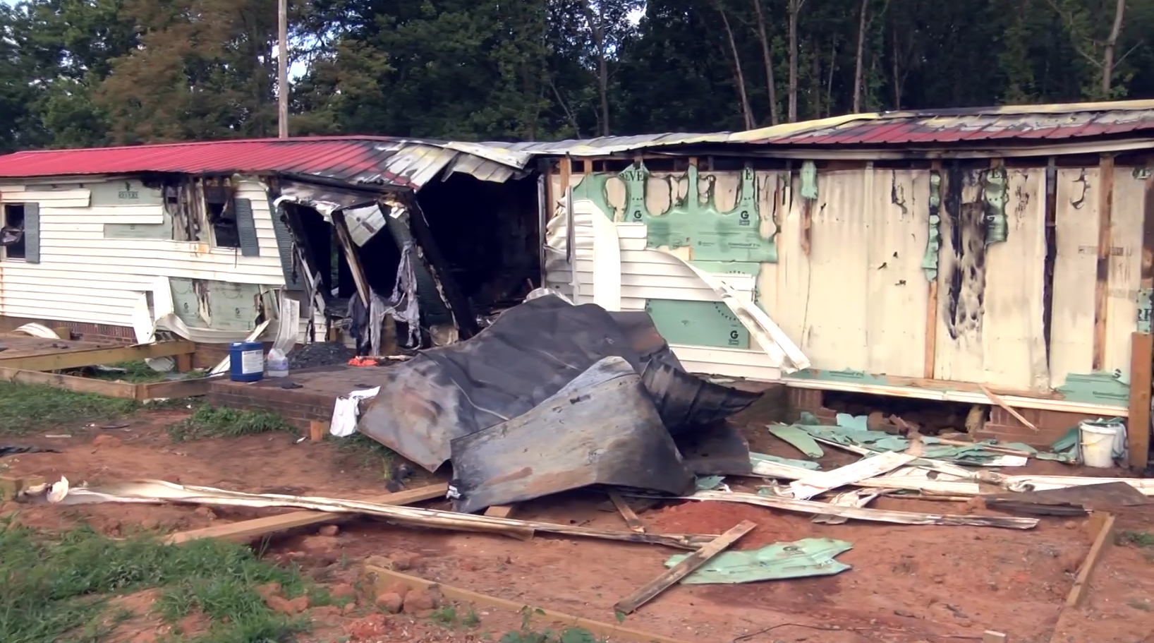Scene of deadly fire in Alexander County, NC. (Courtesy of WBTV)