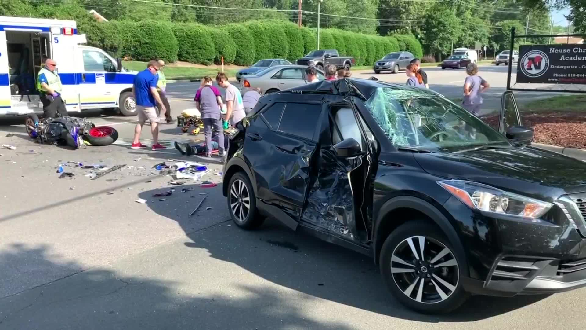 RAW VIDEO: Motorcycle slams into SUV on Falls of Neuse Road