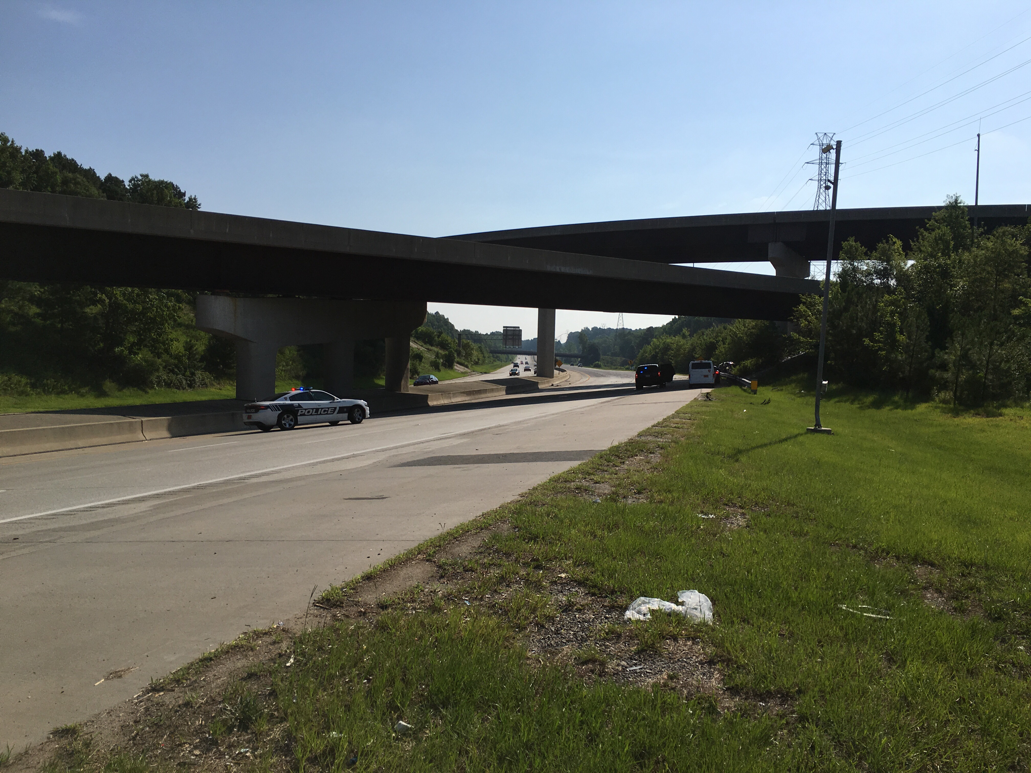 Raleigh man's car falls onto I-85 from US 70 after crashing