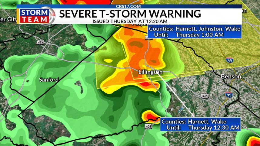 ALERT DAY: Severe thunderstorms pop up around central NC late