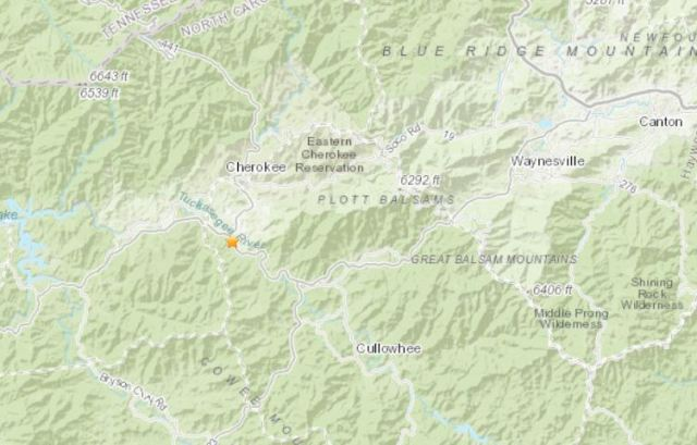 USGS: Earthquake reported 4 miles outside Cherokee in NC mountains