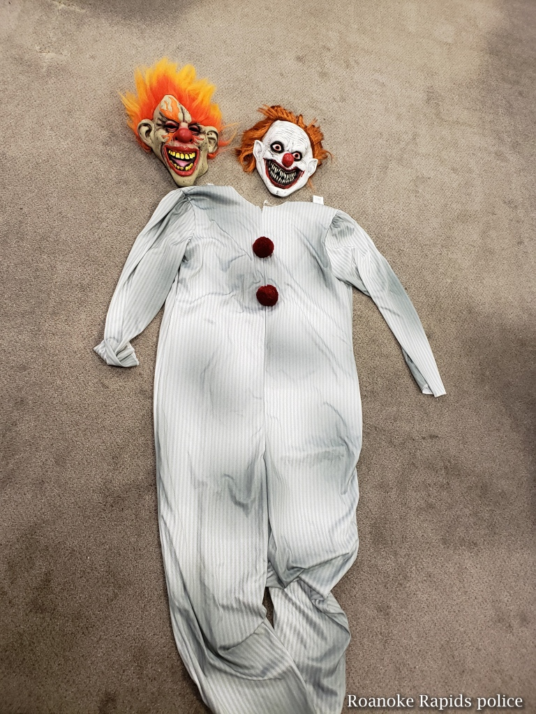 The clown suit seized by Roanoke Rapids police.