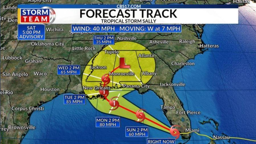 Tropical Storm Sally forms off south Florida, forecast ...