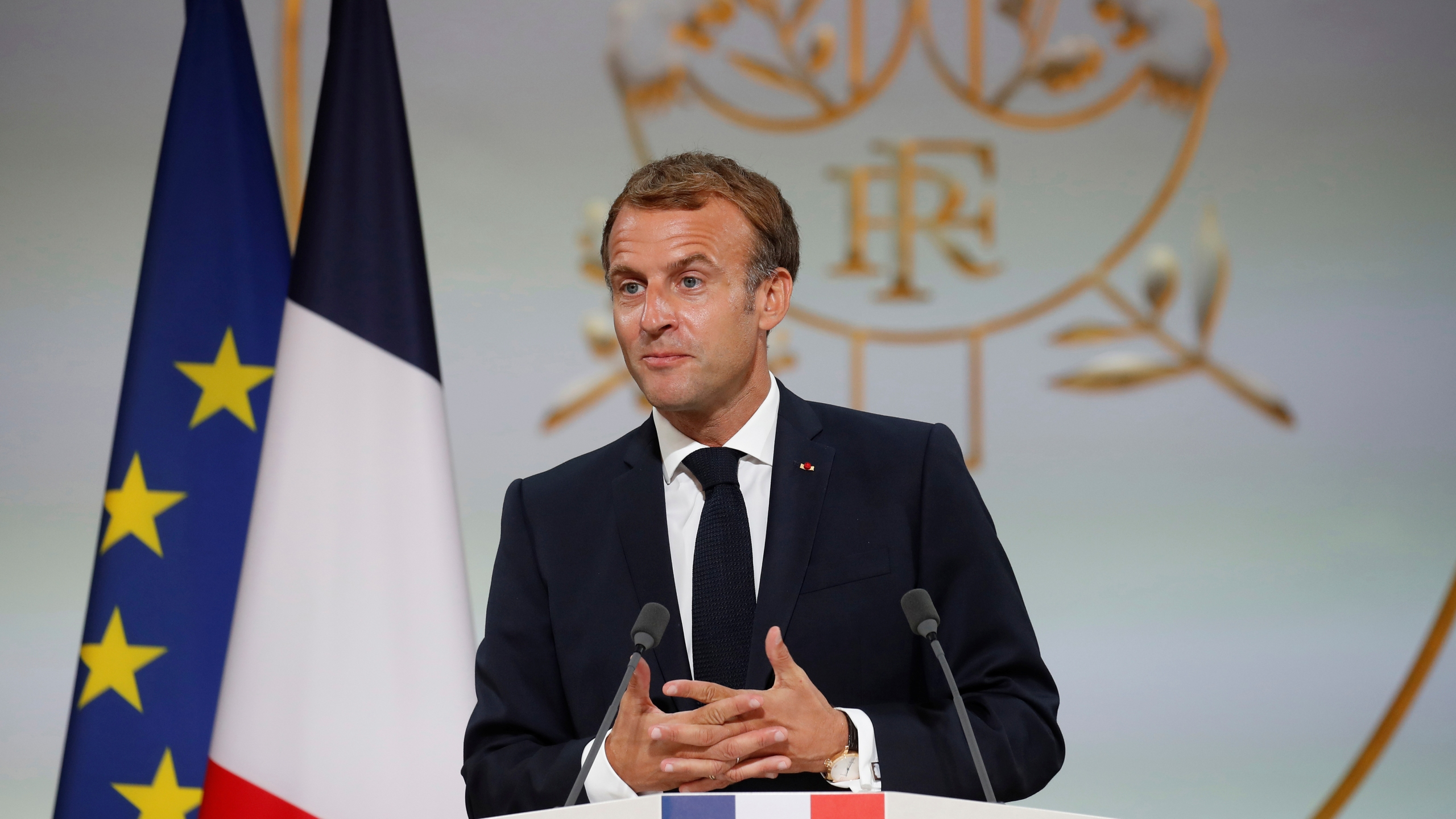 French President Macron hosts a ceremony in homage to the Harkis at the Elysee Palace in Paris