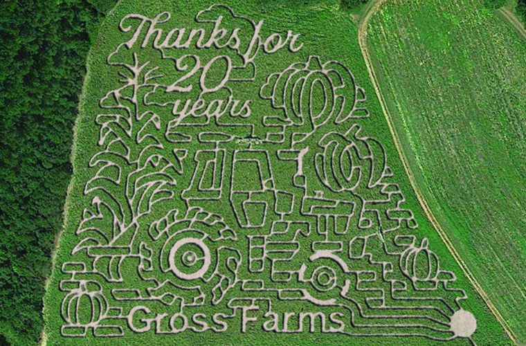 Aerial image of Gross Farms in Sanford and its 2021 corn maze.